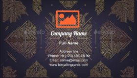 Art Deco Golden Borders Business Card Template