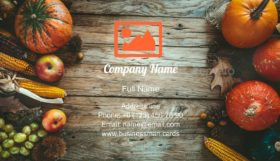 Autumn Fruit over Wood Business Card Template