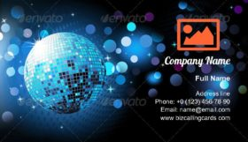 Glowing lights and disco ball Business Card Template