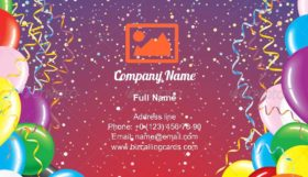 Festive Balloons and Confetti Business Card Template