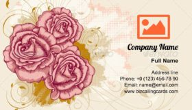 Grunge floral red roses Business Card Template