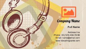 Retro music headphones Business Card Template