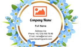Spring Round Frame Business Card Template