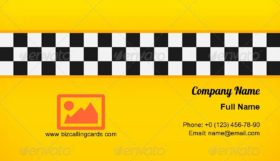 Yellow Checkerboard Taxi Business Card Template