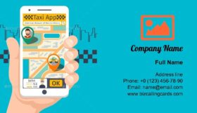 Taxi Mobile App Business Card Template
