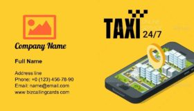 Taxi service 24/7 Business Card Template
