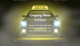 Taxi Cab with Sign Business Card Template