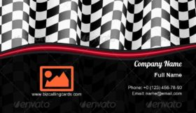 Racing Checkered Flag Business Card Template