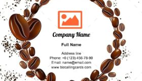 Coffee Beans Circle Business Card Template