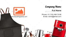 Barista equipment with apron Business Card Template
