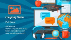 Online Studying at Home Business Card Template