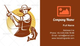 Fisherman Fishing Catching Business Card Template