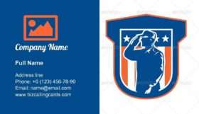 American Miilitary Serviceman Business Card Template