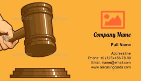 Hand Knocking Gavel Business Card Template
