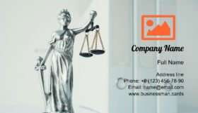 Lady Justice Statue Business Card Template