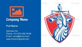 Statue of Liberty Raising Justice Scales Business Card Template