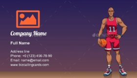 Cartoon basketball player Business Card Template