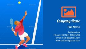 Male Tennis Player Business Card Template