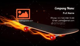 Skateboard On Fire Business Card Template