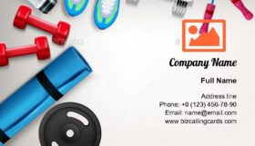 Fitness Realistic Composition Business Card Template