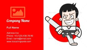 Taekwondo Logo Design Business Card Template