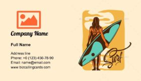 Surfing Hand Drawn Business Card Template