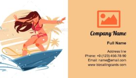 Girl Silhouette Surfing Business Card Template