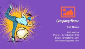 Baseball Player Serves Ball Business Card Template
