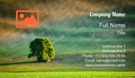Tree in Ploughed Field Business Card Template