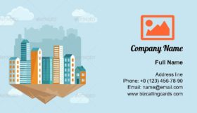 City Concept in Flat Style Business Card Template