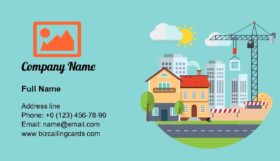 Flat Building Construction Business Card Template