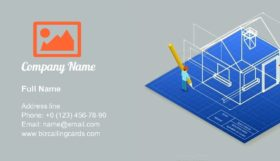Architectural Blueprint Drawing Business Card Template