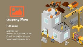 Modern Construction Isometric Business Card Template