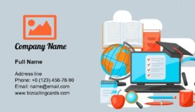 Studying at Home Items Business Card Template