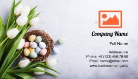 Tulips with Quail Eggs Business Card Template