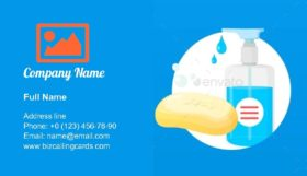 Hands Washing Antibacterial Business Card Template