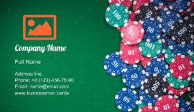 Poker Chips in Casino Business Card Template