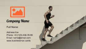 Runner Climbing Stairs Business Card Template