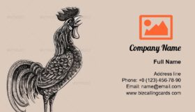 Rooster drawing Business Card Template