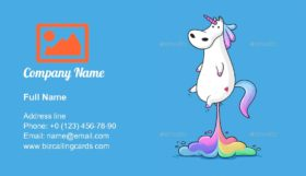 Unicorn farting rainbow Business Card Template