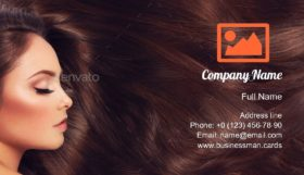 Girl with Long Hair Business Card Template