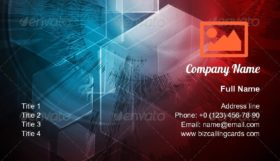 Grunge tech design Business Card Template