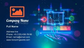 Smart home on smartphone in hand Business Card Template