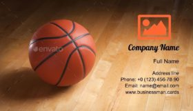 Basketball on Court Floor Business Card Template