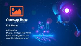 Cyborg woman look at AI Business Card Template
