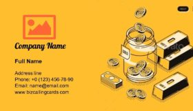 Investment in Gold Isometric Business Card Template