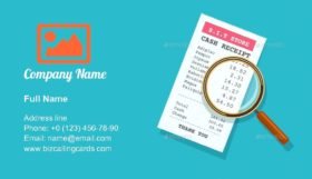 Paper Receipt with Magnifying Glass Business Card Template