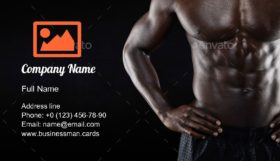 Muscular Man Torso Business Card Template