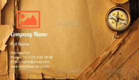 Compass over Old Map Business Card Template