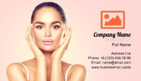 Brunette Touch Her Face Business Card Template